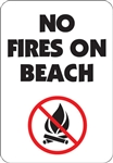 "12""w x 18""h Aluminum Sign ""No Fires On Beach"" with Symbol"