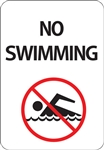 "12""w x 18""h Aluminum Sign ""No Swimming"" with Symbol"