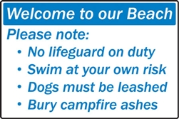 "18""w x 12""h Aluminum Sign """"Welcome To Our Beach..."""