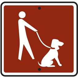"12""w x 12""h .080 Reflective Aluminum Dogs On Leash Symbol Sign"