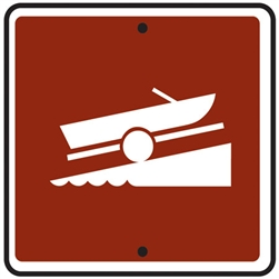 "12""w x 12""h .080 Reflective Aluminum Boat Launch Symbol Sign"