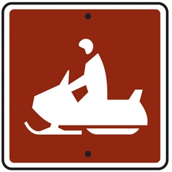 "12""w x 12""h .080 Reflective Aluminum Snowmobile Symbol Sign"
