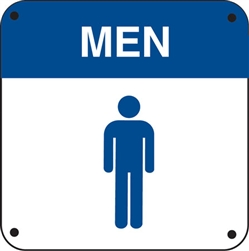 "6""w x 6""h Restroom ""Men"" and Symbol"