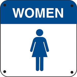 "6""w x 6""h Restroom ""Women"" and Symbol"